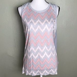 a.n.a Pink/Gray Sleeveless Chevron Front Top 1X